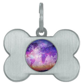 world map galaxy 1 pet ID tag