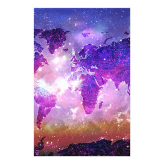 world map galaxy 1 stationery design