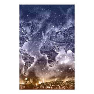 world map galaxy 2 custom stationery