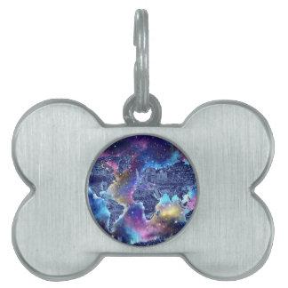 world map galaxy 3 pet tags