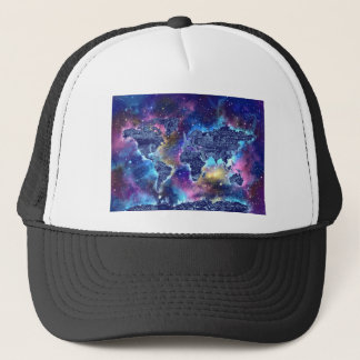 world map galaxy 3 trucker hat