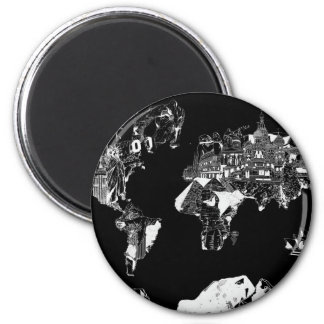 world map galaxy black and white 1 2 inch round magnet