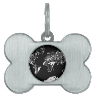 world map galaxy black and white 1 pet ID tags