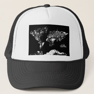 world map galaxy black and white 1 trucker hat