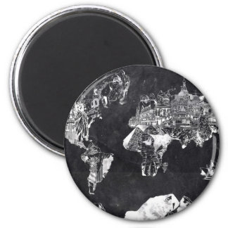 world map galaxy black and white 2 2 inch round magnet