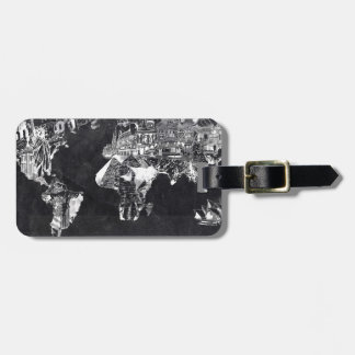 world map galaxy black and white 2 luggage tag