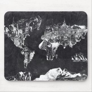 world map galaxy black and white 2 mouse pad