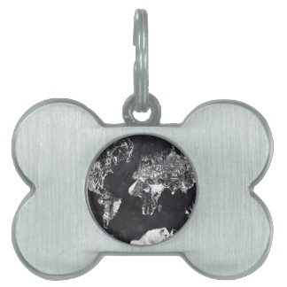 world map galaxy black and white 2 pet tags