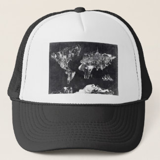 world map galaxy black and white 2 trucker hat