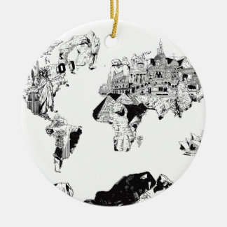 world map galaxy black and white 3 ceramic ornament