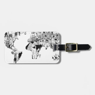 world map galaxy black and white 3 luggage tag