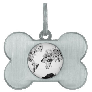 world map galaxy black and white 3 pet ID tag