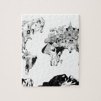 world map galaxy black and white 3 puzzle