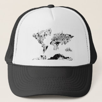 world map galaxy black and white 3 trucker hat