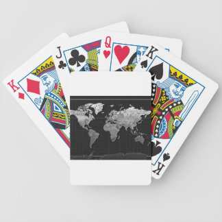 world map galaxy black and white 4 bicycle playing cards