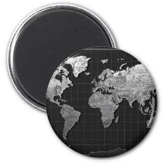 world map galaxy black and white 4 magnet