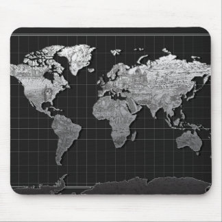 world map galaxy black and white 4 mouse pad