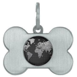 world map galaxy black and white 4 pet tag