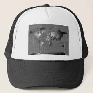 world map galaxy black and white 5 trucker hat