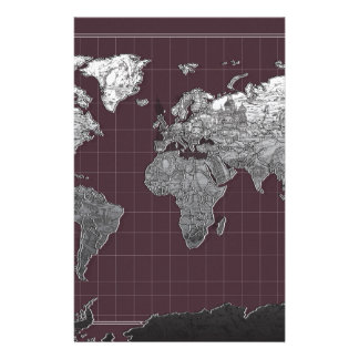world map galaxy black and white 6 customized stationery