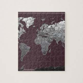 world map galaxy black and white 6 jigsaw puzzle