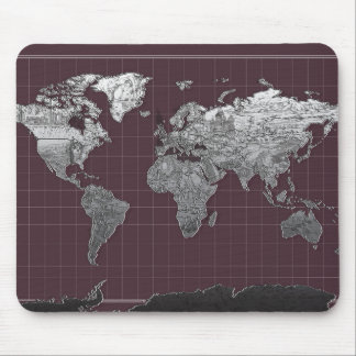 world map galaxy black and white 6 mouse pad