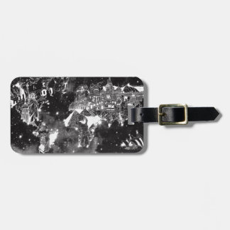 world map galaxy black and white luggage tag