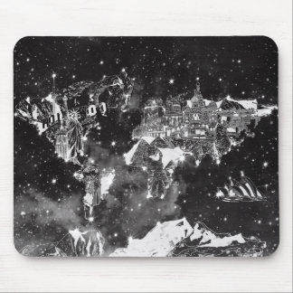 world map galaxy black and white mouse pad