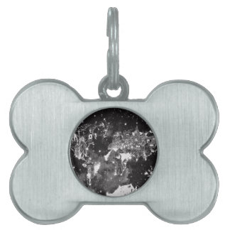world map galaxy black and white pet ID tag