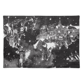 world map galaxy black and white placemat