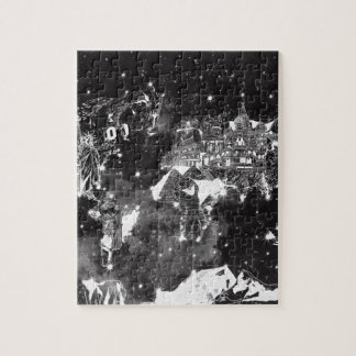 world map galaxy black and white puzzle