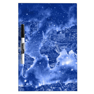 world map galaxy blue 1 Dry-Erase boards
