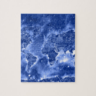 world map galaxy blue 1 jigsaw puzzle