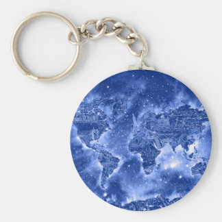 world map galaxy blue 1 keychain
