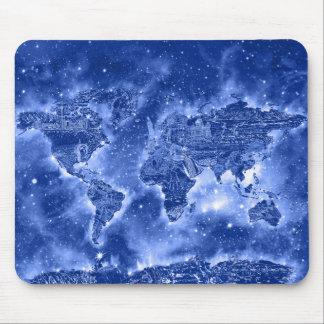 world map galaxy blue 1 mouse pad
