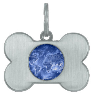 world map galaxy blue 1 pet ID tags