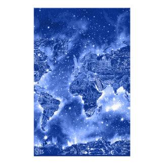 world map galaxy blue 1 stationery