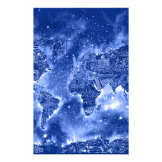 world map galaxy blue 1 stationery paper