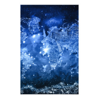 world map galaxy blue 2 customized stationery