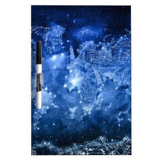 world map galaxy blue 2 dry erase board