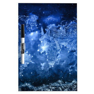 world map galaxy blue 2 Dry-Erase boards