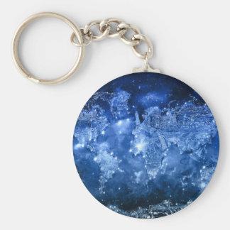 world map galaxy blue 2 keychain