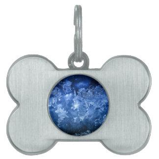 world map galaxy blue 2 pet name tag