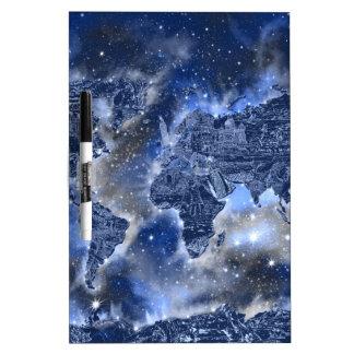 world map galaxy blue 3 dry erase board