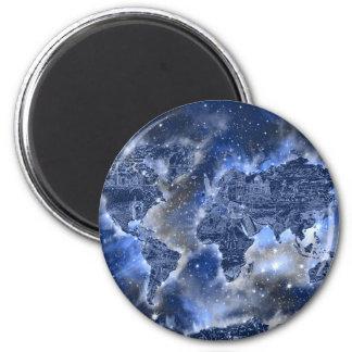 world map galaxy blue 3 magnet