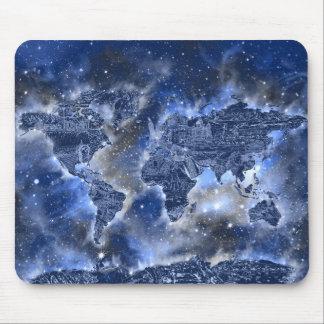 world map galaxy blue 3 mouse pad