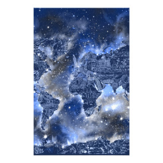 world map galaxy blue 3 personalized stationery