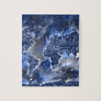 world map galaxy blue 3 puzzles