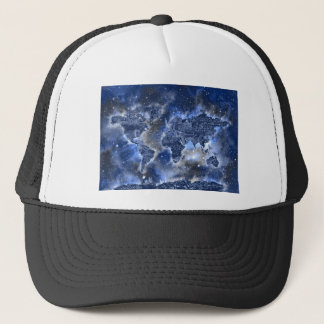world map galaxy blue 3 trucker hat