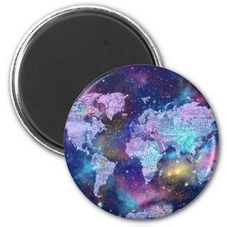 world map galaxy blue 4 2 inch round magnet